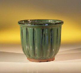 Ceramic Bonsai Pot Round Green Fluted