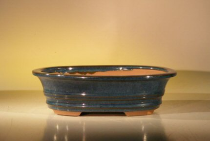 "Ceramic Bonsai Pot - Blue/Green Oval 10"" x 8"" x 2.75"""