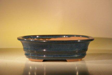 """Ceramic Bonsai Pot - Blue/Green Oval 10"""" x 8"""" x 2.75"""""""