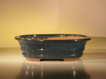 """Ceramic Bonsai Pot - Blue/Green Oval 8"""" x 6"""" x 2.25"""""""