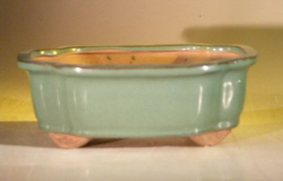 "Ceramic Bonsai Pot - Green Oval 16.5"" x 13.5"" x 3.5"""