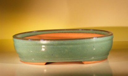"Ceramic Bonsai Pot Green Oval 14.5""x11.0""x3.5"""