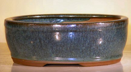 "Ceramic Bonsai Pot - Oval 7.75""x6.5""x2.75"""