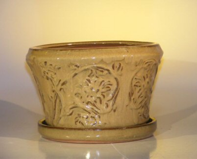 "Ceramic Bonsai Pot With Matching Tray 11.25""x7.5"" Tall Mustard Color Round"