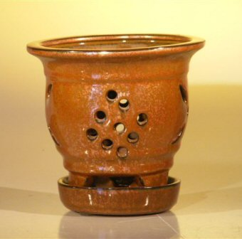 Image: Ceramic Orchid Pot with Attached Tray  5.0x5.125 Tall Aztec Orange Color - Round Sized to fit 4.0 Plastic Growing Pot