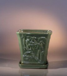 Image: Ceramic Bonsai Pot with Attached Tray - Cascade 7.5x7.5
