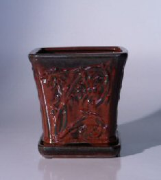 "Ceramic Bonsai Pot with Attached Tray - Cascade 5.5""x5.5"""