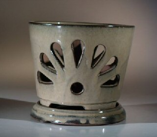 Image: Ceramic Orchid Pot  7.25x6.25 Round With Attached Saucer