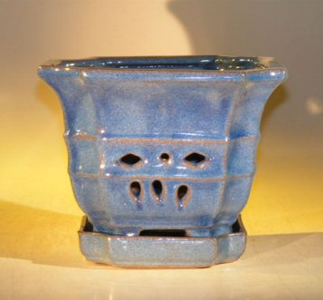 Image: Orchid Pot with Attached Tray Blue Color 7.0 x 6.5 Tall