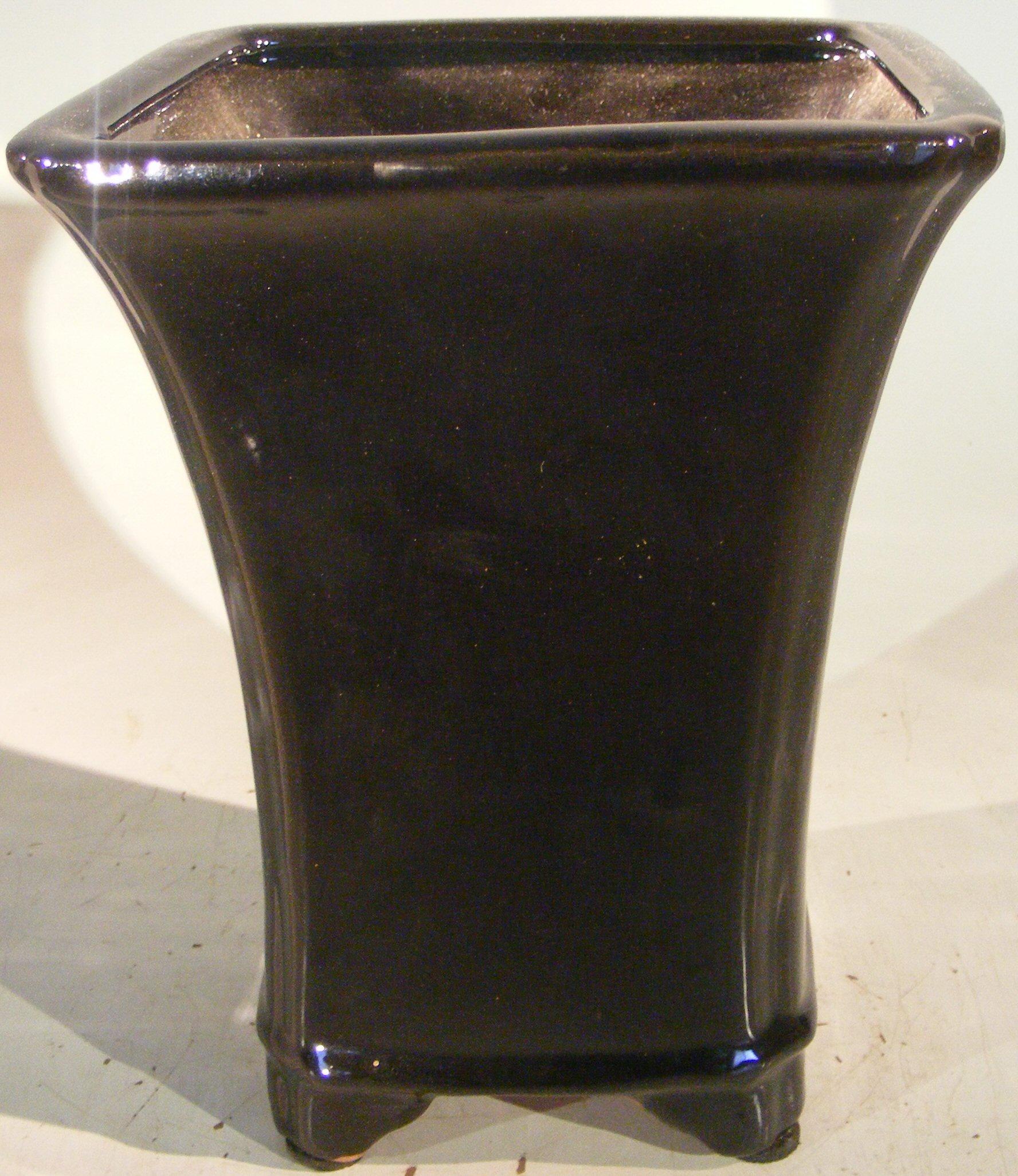 Black Ceramic Bonsai Pot - Cascade 6.25 x 6.25 x 8 tall OD, 5 x 5 x 7 tall ID Image