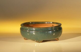 "Ceramic Bonsai Pot - Oval 6.125"" x 5.0"" x 2.125"""