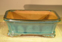 Green Ceramic Bonsai Pot – Rectangle 7.5 x 5.5 x 2.75