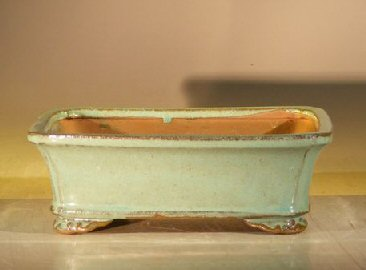 Light Green Ceramic Bonsai Pot - Rectangle8 x 6.375 x 3 Image