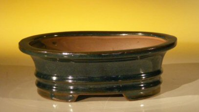 "Ceramic Bonsai Pot - Oval 8.0"" x 6.25"" x 2.5"""
