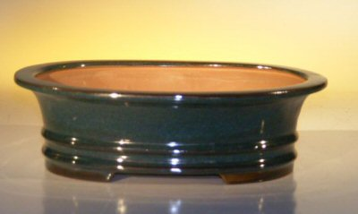 Dark Green Ceramic Bonsai Pot – Oval 10 x 8 x 3.125