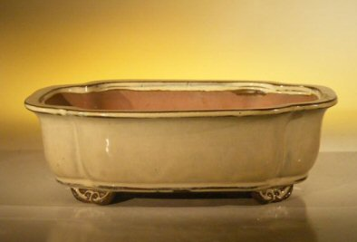 Image: Ceramic Bonsai Pot - Rectangle 10.0 x 8.0 x 3.125