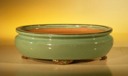 Green Ceramic Bonsai Pot – Oval 10 x 8 x 3.125