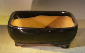 "Ceramic Bonsai Pot - Rectangle 10.0"" x 8.0"" x 3.125"""