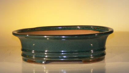 "Ceramic Bonsai Pot - Oval 12.0"" x 9.5"" x 3.375"""