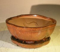 Aztec OrangeCeramic Bonsai Pot – Oval Lotus Shape Professional Series with Attached Humidity/Drip tray 6.37 x 4.75 x 2.625
