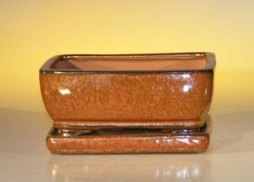 Aztec Orange Ceramic Bonsai Pot – Rectangle Professional Series with Attached Humidity/Drip tray 6.37 x 4.75 x 2.625