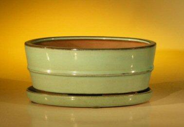 "Ceramic Bonsai Pot With Attached Humidity/Drip tray- Oval 8.5"" x 6.5"" x 3.5"""