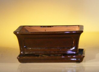 Image: Ceramic Bonsai Pot  With Attached Humidity/Drip tray-Professional Series  Rectangle 8.5 x 6.5 x 3.5