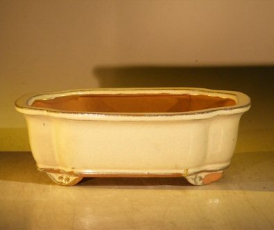 Image: Ceramic Bonsai Pot Rectangle - Beige Color 8.0 x 6.0 x 2.5 Tall