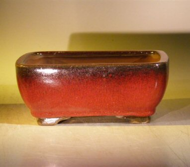 "Ceramic Bonsai Pot With Attached Humidity/Drip tray - Rectangle 8.5"" x 6.5"" x 3.5"""