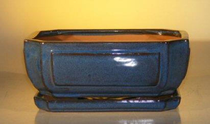 Blue Ceramic Bonsai Pot – Rectangle Attached Humidity/Drip tray 10.75 x 8.5 x 4.125
