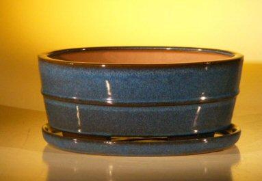 "Ceramic Bonsai Pot With Attached Humidity/Drip tray - oval 10.75"" x 8.5"" x 4.125"""