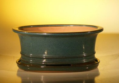Ceramic Bonsai Pot  With Attached Humidity/Drip tray - Oval 10.75