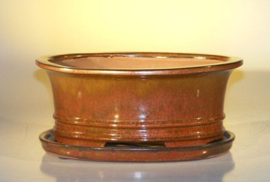 Image: Ceramic Bonsai Pot  With Attached Humidity/Drip tray - Professional Series Oval 10.75 x 8.5 x 4.125