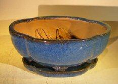Blue Ceramic Bonsai Pot- Oval Lotus Shape Professional Series 10.5 x 9.0 x 5.0