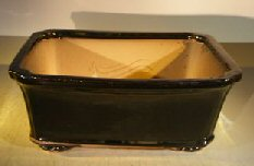 Black Ceramic Bonsai Pot – Rectangle Professional Series 12.5 x 10.5 x 4.5