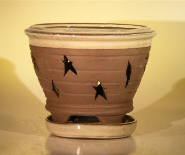Ceramic Orchid Pot With Matching Attached Saucer 7.625