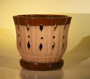 Image: Ceramic Orchid Pot With Matching Attached Saucer 7.625x6.125
