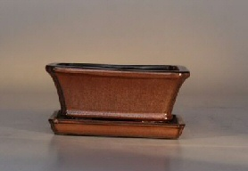 Image: Ceramic Bonsai Pot  With Attached Humidity/Drip Tray- Professional Series Rectangle 6.37 x 4.75 x 2.625