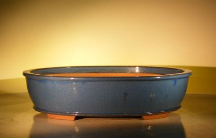 Image: Ceramic Bonsai Pot - Oval 20.25x16.5x5.0