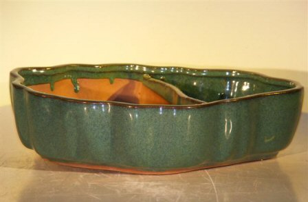 Blue/Green Ceramic Bonsai Pot with Scalloped Edges - Land/Water Divider <br> 9.5 x 7.5 x 2.25