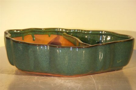 Image: Ceramic Bonsai Pot - Land/Water  with Scalloped Edges 12.0 x 9.5 x 3.0