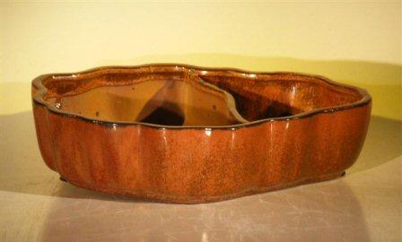 "Ceramic Bonsai Pot - Land/Water with Scalloped Edges 12.0"" x 9.5"" x 3.0"""