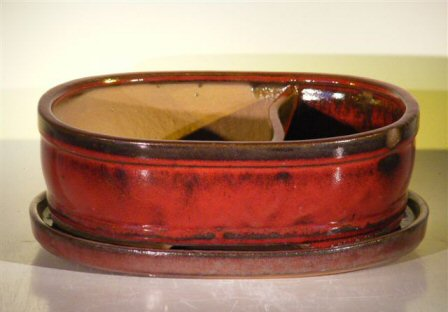 "Ceramic Bonsai Pot - Land/Water with Attached Matching Tray 10.0"" x 7.5"" x 3.5"
