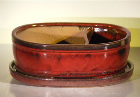 "Ceramic Bonsai Pot - Land/Water with Attached Matching Tray 12.0"" x 9.25"" x 4.25"""