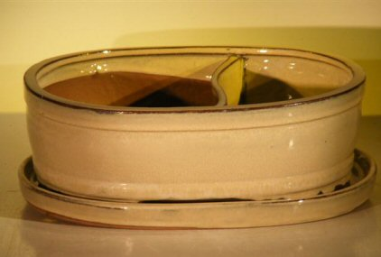 Image: Ceramic Bonsai Pot - Land/Water  with Attached Matching Tray 8.25 x 6.0 x 3.5