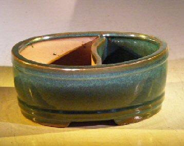 Blue/Green Ceramic Bonsai Pot - Oval Land/Water Divider8.0 x 6.5 x 3.25 Image