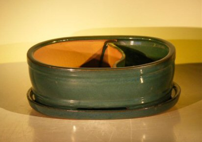 "Ceramic Bonsai Pot - Land/Water with Attached Matching Tray 10.0"" x 7.5"" x 3.5"""