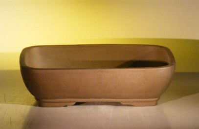 Image: Rectangle Ceramic Bonsai Pot 14.125x11.0x4.0