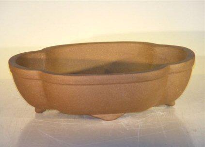 Tan Unglazed Ceramic Bonsai Pot - Oval <br>12 x 9.625 x 3.5
