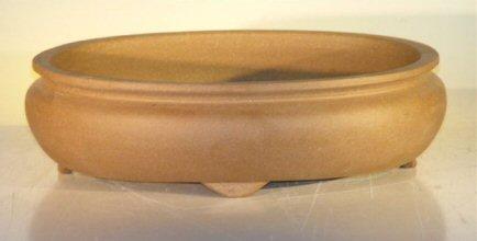 """Ceramic Bonsai Pot - Oval Unglazed 12""""x9.625""""x3.5"""""""